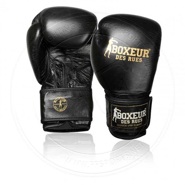 Boxing Gloves In Black Leather With Tribal Print Design And Italian Flag BOXEUR DES RUES Unisex