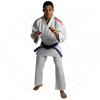 Adidas Judo Gi J350 Club WhiteOrange Stripes - 01