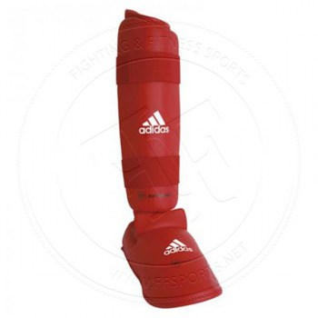 Adidas WKF Shin Protector With Removable Base Red