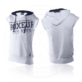Boxeur De Rues Hooded Sleeveless Big Print Sweatshirt White