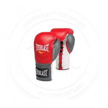 Everlast Powerlock Fight Gloves Lace Up RedGrey