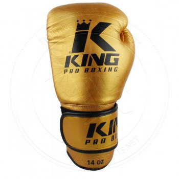 King Pro Leather Boxing Gloves Gold - 01