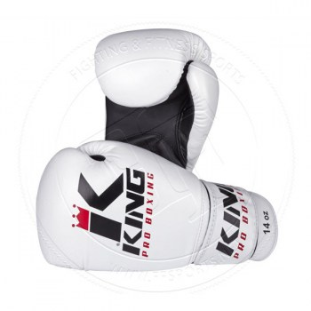 King Pro Leather Boxing Gloves White - 014
